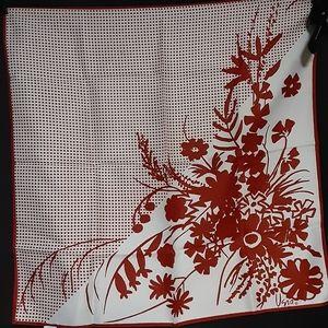 1980's Pixilated Vera Neumann scarf w/ red flowers